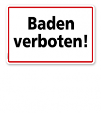 Textschild Baden verboten - TX