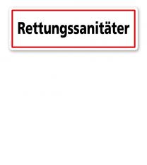 Textschild Rettungssanitäter - TX
