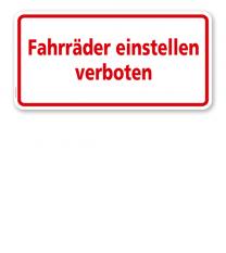 Textschild Fahrräder einstellen verboten - TX