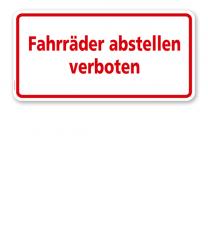 Textschild Fahrräder abstellen verboten 2 - TX