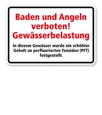 Textschild Baden und Angeln verboten - Gewässerbelastung - Perfluorierte Tenside - TX