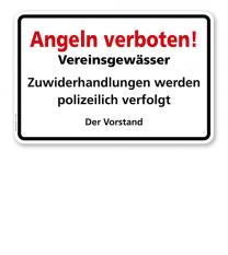 Textschild Angeln verboten - Vereinsgewässer - TX