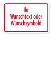 Textschild individuell - mit Ihrem Wunschtext - roter Rahmen - TX