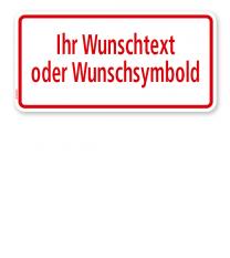 Textschild individuell - mit Ihrem Wunschtext 2 - roter Rahmen - TX