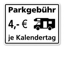 Hinweisschild Parkgebühr für Wohnmobile - TX