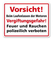 Textschild Vorsicht! Beim Laufenlassen der Motoren Vergiftungsgefahr! - TX