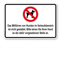 Hinweisschild Das Mitführen von Hunden im Verkaufsbereich ist verboten - TX