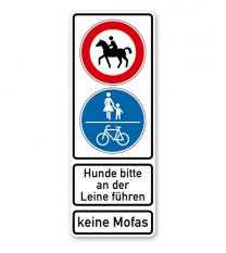 Kombischild mit zwei Verkehrszeichen und Textfeldern - individuell wählbar