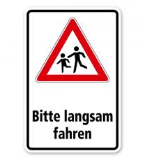 Kombischild / Kinderschild Bitte langsam fahren