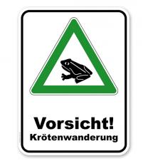 Kombischild Vorsicht Krötenwanderung