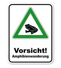 Kombischild Vorsicht Amphibienwanderung