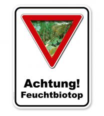 Kombischild Vorsicht Feuchtbiotop - 2