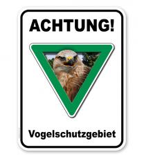Kombischild Achtung, Vogelschutzgebiet