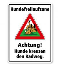 Kombischild Hundefreilaufzone Achtung, Hunde kreuzen den Radweg