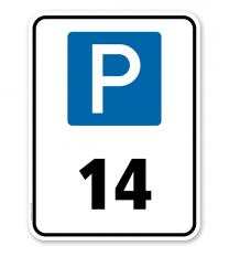 Kombischild Parkplatznummerierung nach Wahl mit Parksymbol