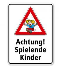 Kombischild / Kinderschild Achtung, spielende Kinder
