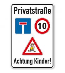 Kombischild Privatstraße - Achtung Kinder
