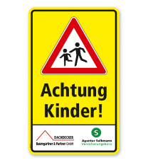 Kombischild / Kinderschild Achtung Kinder - mit Sponsoreneindruck