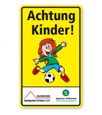 Kombischild / Kinderschild Achtung Kinder 2 - mit Sponsoreneindruck
