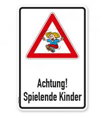 Kombischild / Kinderschild Achtung, spielende Kinder 2
