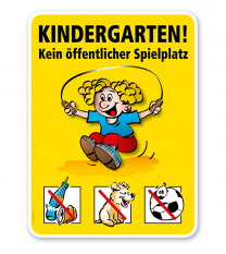 Spielplatzschild Kindergarten - Kein öffentlicher Spielplatz - VSS