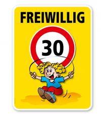 Kinderschild Freiwillig 30 km/h - Kind mit Springseil - VSS