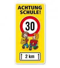 Kinderschild Achtung Schule 30er Zone - Teilstrecke - VSS
