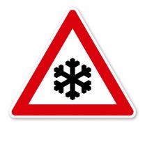 Schnee- oder Eisglätte - Verkehrsschild VZ-145-53