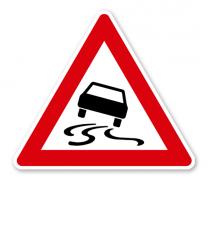 Schleudergefahr bei Nässe oder Schmutz - Verkehrsschild VZ 114