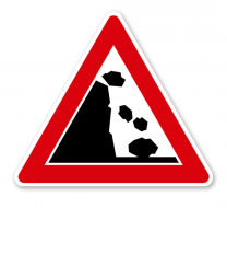 Steinschlag, Aufstellung links - Verkehrsschild VZ 145-16