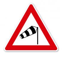 Seitenwind von rechts - Verkehrsschild VZ 117-10
