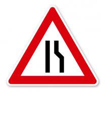 Einseitig verengte Fahrbahn, Verengung rechts - Verkehrsschild VZ 121-10