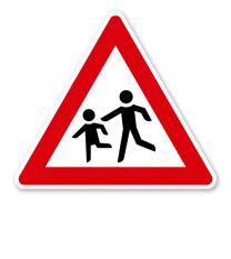 Kinder, Aufstellung rechts - Verkehrsschild VZ 136-10