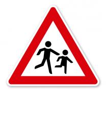 Kinder, Aufstellung links - Verkehrsschild VZ 136-20