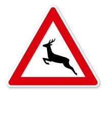 Wildwechsel, Aufstellung rechts - Verkehrsschild VZ 142-10
