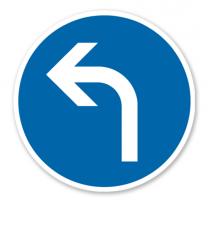 Vorgeschriebene Fahrtrichtung links - Verkehrsschild VZ 209-10