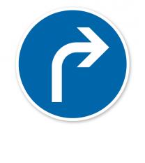 Vorgeschriebene Fahrtrichtung rechts - Verkehrsschild VZ 209-20