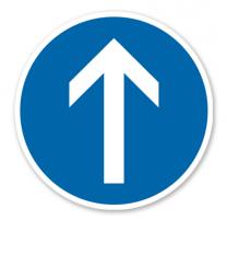 Vorgeschriebene Fahrtrichtung geradeaus - Verkehrsschild VZ 209-30