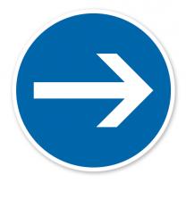 Vorgeschriebene Fahrtrichtung hier rechts - Verkehrsschild VZ 211-20