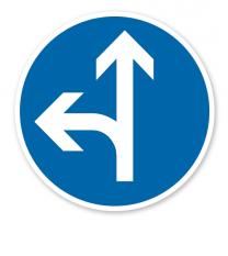 Vorgeschriebene Fahrtrichtung geradeaus oder links - Verkehrsschild VZ 214-10