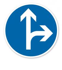 Vorgeschriebene Fahrtrichtung geradeaus oder rechts - Verkehrsschild VZ 214-20