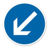 Vorgeschriebene Vorbeifahrt links vorbei - Verkehrsschild VZ 222-10