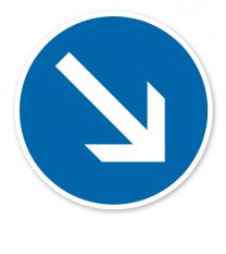 Vorgeschriebene Vorbeifahrt rechts vorbei - Verkehrsschild VZ 222-20