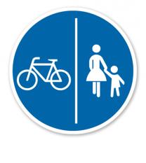 Getrennter Rad- und Gehweg, Radweg links - Verkehrsschild VZ 241-30