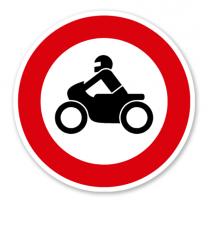 Verbot für Krafträder, auch mit Beiwagen, Kleinkrafträder und Mofas - Verkehrsschild VZ 255