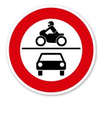 Verbot für Krafträder, auch mit Beiwagen, Kleinkrafträder, Mofas sowie für Kraftwagen und sonstige mehrspurige Kfz - Verkehrsschild VZ 260
