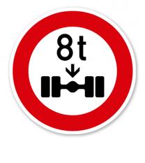 Verbot für Fahrzeuge über angegebene tatsächliche Achslast - Verkehrsschild VZ 263