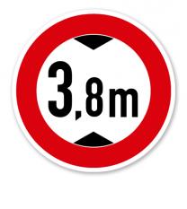 Verbot für Fahrzeuge über angegebene tatsächliche Höhe - Verkehrsschild VZ 265