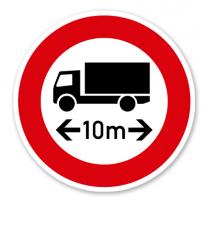 Verbot für Fahrzeuge und Züge über angegebene tatsächliche Länge - Verkehrsschild VZ 266
