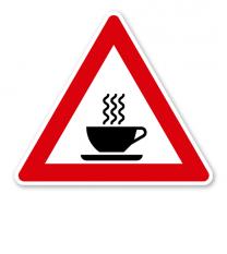 Verkehrsschild Achtung heißer Kaffee